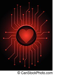 Love circuitry - Love button with connected circuitry for...