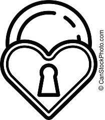 Love closed padlock icon, outline style