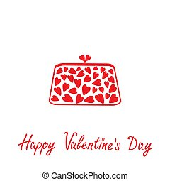 Love clutch with hearts. Happy Valentines Day card.