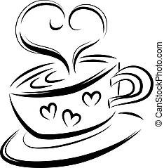 Love coffee line art, vector illustration