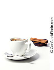 love coffee - coffee cup with sugar and cinnamon on white...