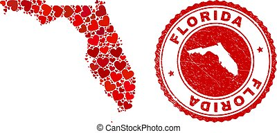 Collage Florida State map composed with red love hearts, and corroded seal. Vector lovely round red rubber seal stamp imitation with Florida State map inside.