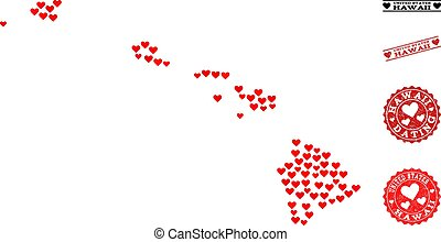 Love Collage Map of Hawaii State and Grunge Stamps for Valentines