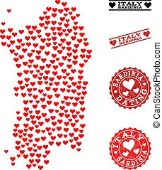Love Collage Map of Sardinia Region and Grunge Stamps for...