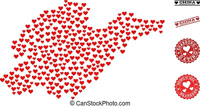 Love Collage Map of Shandong Province and Grunge Stamps for Valentines