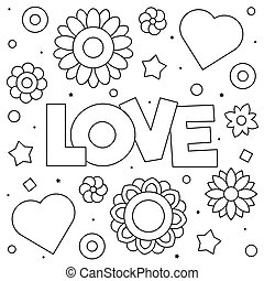 Love. Coloring page. Black and white vector illustration.
