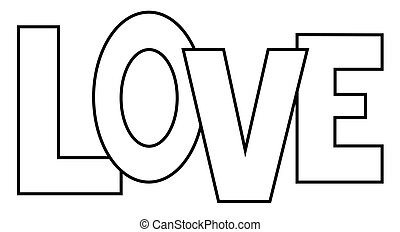 hearts in love cartoon coloring page black and white vector rh canstockphoto com i love you coloring pages we love you coloring pages - Love Coloring Pages