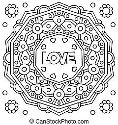 Love. Coloring page. Vector illustration.