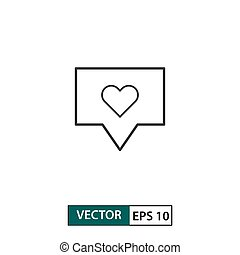 Love comment icon. Outline style. Isolated on white background. Vector illustration EPS 10