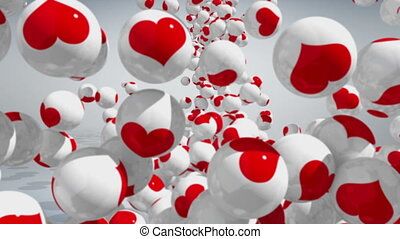 Love concept 3D - Falling balls with LOVE icons on white...