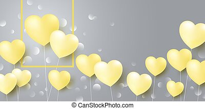Love concept design of yellow heart balloons on gray background vector illustration
