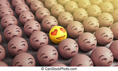 love concept Emojis icons with facial expressions 3d render