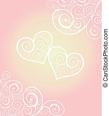 Love concept for Valentines Day or Wedding design with lacy hearts