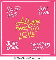 Love concept handwritten lettering quotes set