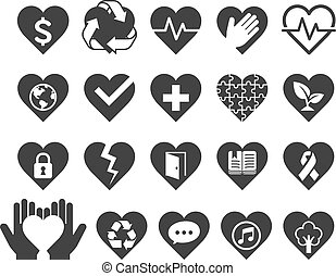 Love concept heart line icons style.