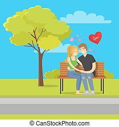 Love Concept Illustration Merry Couple Sits Bench
