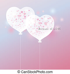Love concept of heart balloon design for valentine's day and wedding card vector illustration
