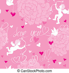 Love concept - seamless pattern with flowers, angel, dove and calligraphic text I love you. Valentine`s Day pink background