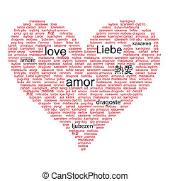 Love concept word in many languages of the world in red and...