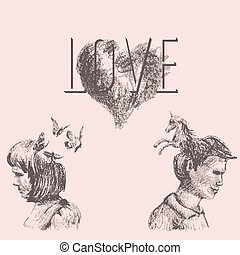 Love conceptual drawing