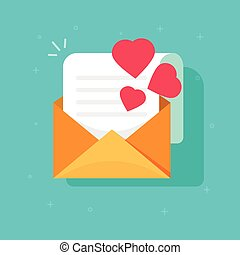 Love confession mail or email vector icon flat cartoon, open envelope with read paper sheet letter and hearts, idea of romance invitation message, romantic e-mail, greeting gift