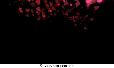 Heart shaped confetti bursting into the air then slowly settling to the ground.
