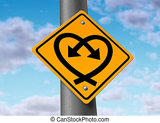 Love Connection - Love road sign with two curved arrows in...