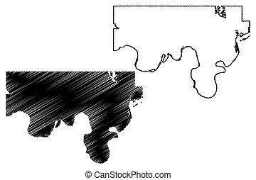 Love County, Oklahoma State (U.S. county, United States of America, USA, U.S., US) map vector illustration, scribble sketch Love map