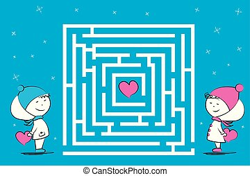 Love couple and maze game with hearts,funny characters in winter clothes,