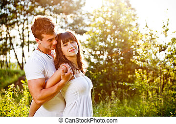 Love couple embracing