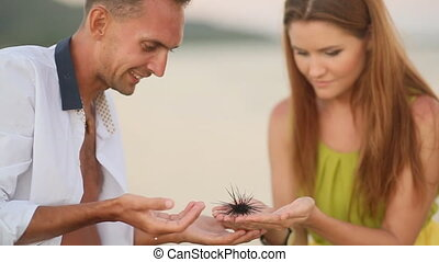 Love Couple Examines A Sea Urchin