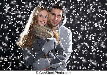 love couple in snow