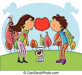 Love couple kissing and making heart in vector