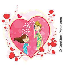 Love couple making telephone call in heart shape