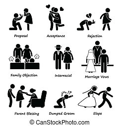 A set of human pictograms representing a couple going through ups and downs in their romantic life.