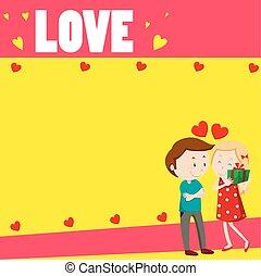 Love couple on paper design