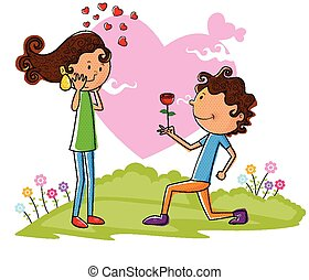Love couple proposing with rose