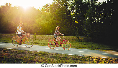 Love couple riding on vintage bicycles in park