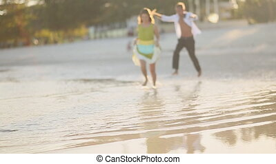 Love Couple Run On Water In The Evening