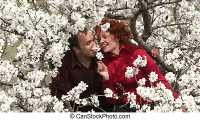 Love couple sitting in a tree