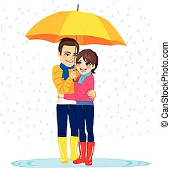 Love Couple Under Rain