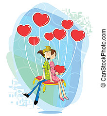 Love couple with heart shaped balloon