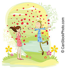 Love couple with heart showering