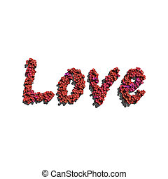 love create by red color flowers white background