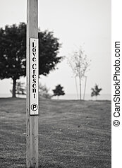 Love Crescent Sign Pole B&W - Love Crescent Parking Sign...