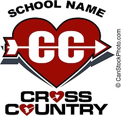 love cross country team design with heart for school,...