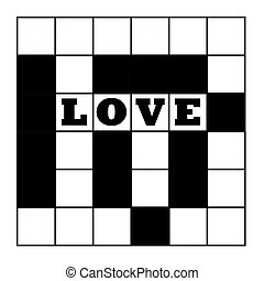 Blank crossword puzzle with word love, isolated on white background.