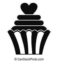 Love cupcake icon, simple style
