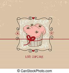 Love cupcake, Valentine day cute card