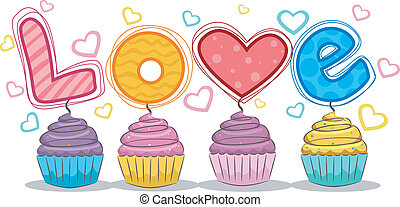 Love Cupcakes - Illustration of Cupcakes with LOVE lettering